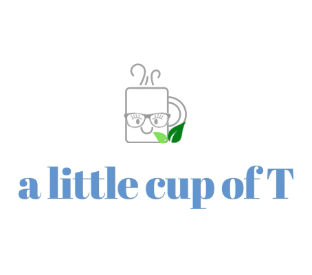 Vector image of smiling mug of tea with green leaves with website title